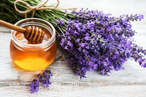 raw lavender and honey to be used for organic skincare products made with love and intention